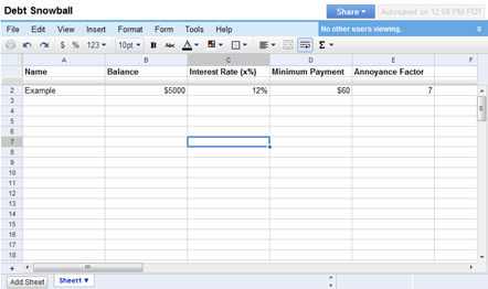 debt reduction excel template
