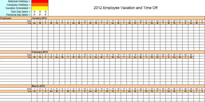 Vacation Calendar Template 2016 Car . Excel Employee Vacation Tracker ...