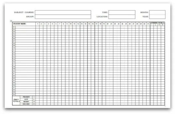 Attendance Register Templates - Excel xlts