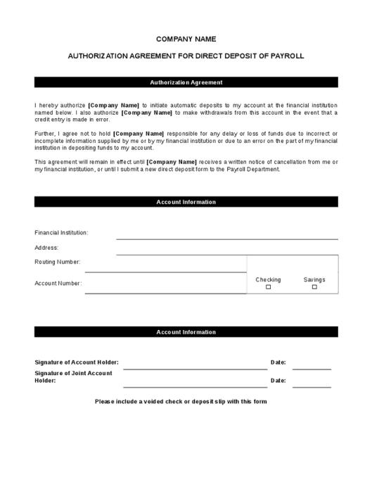 Direct Deposit Form Templates - Excel xlts