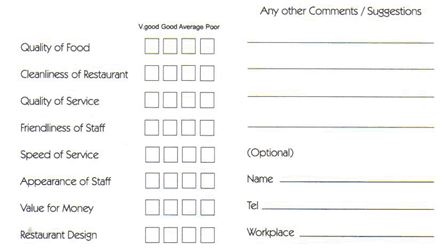 5 Restaurant Comment Card Templates Excel Xlts