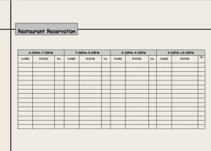 restaurant reservation log template 22