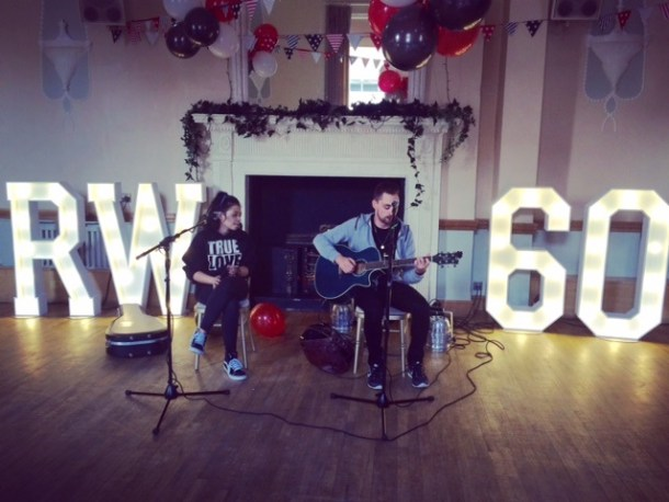 Party Celebrations and live band with light up initials and illuminated numbers