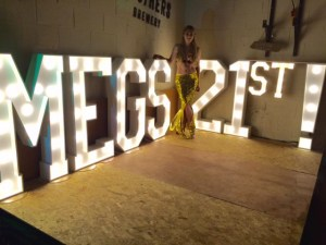 LED signage for a young girls 21st birthday party