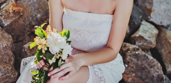 Embroidered strapless wedding dress