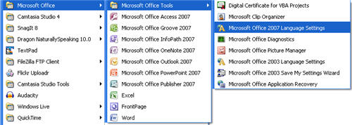 How to find the language settings in MS Office