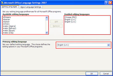 Select Language setting in MS Office 2003 2007
