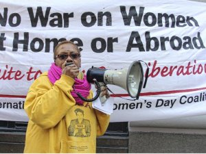Monica Moorehead speaking on International Women's Day in New York.