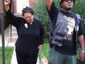 Comrade Mother Akua Njeri and Chairman Fred, Jr. in front of 2337 W. Monroe.