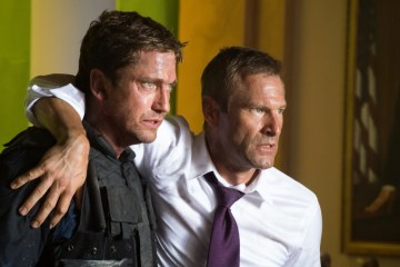 Gerard Butler and Aaron Eckhart in 'Olympus Has Fallen'.(Courtesy of Film District)