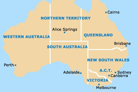 map of australia perth