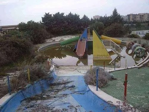 The remains of a slide at the abandoned L'Aquatic Paradis