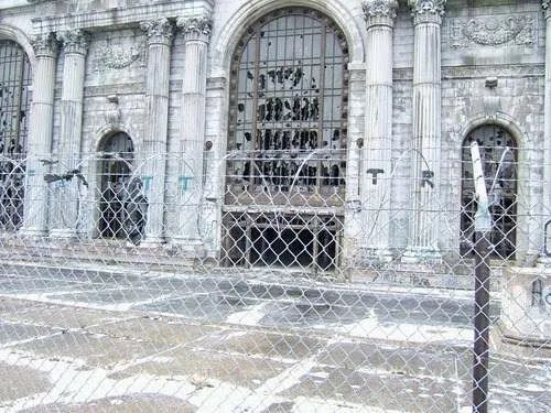 The entrance to the abandoned Michigan Central Station