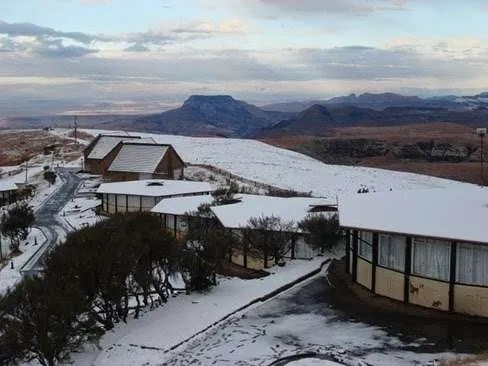 Snow at the abandoned Witsieshoek Mountain Inn in South Africa