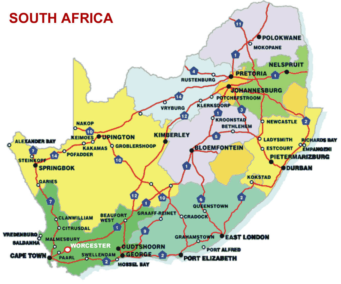 map south africa distances