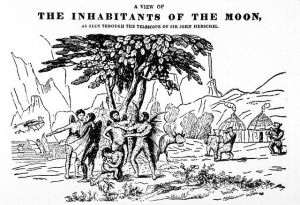 """A View of the Inhabitants of the Moon"". Illustration from an 1836 English pamphlet, publisher unknown. Note the biped beavers on the right"