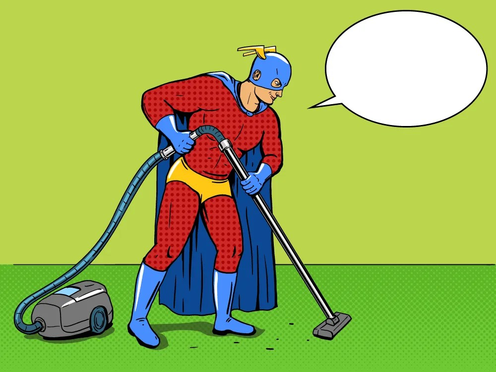 Comic Book Cleaner Cleaning The Floor