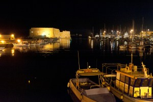Heraklion harbor at night - @World Travel Mama