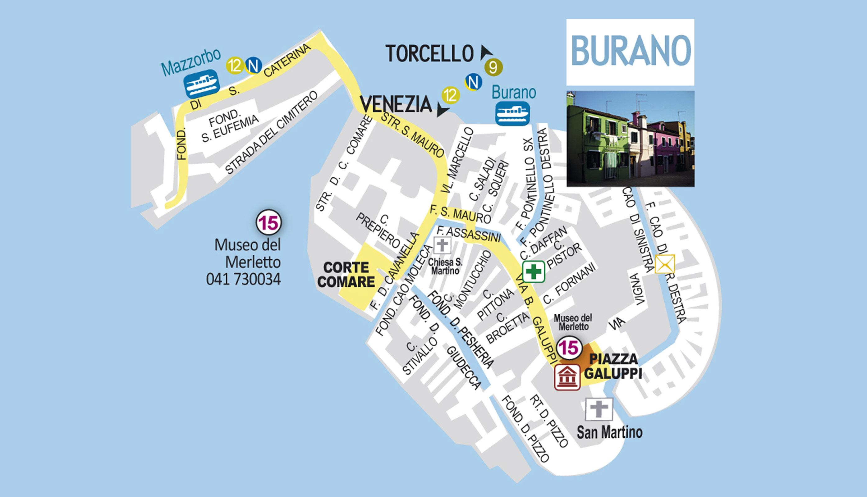 Burano Island Italy Map