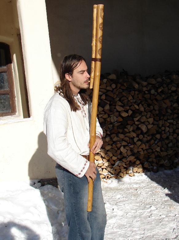 Fujara - shepherd's flute - photo found on Wiki Commons and attributable to Igor Chyra, Zajezova, Slovakio, 16.12.2005