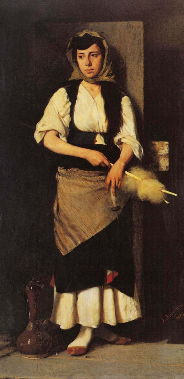 Title Greek: Το Κορίτσι The Girl, painted 1876, by the Greek Artist Georgios Jakobides (1853–1932), image found on Wiki Commons and marked as being in the Public Domain