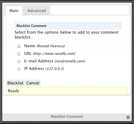 Blacklist Comments Screen