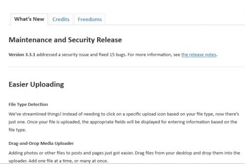 WordPress 3.3.1 Whats New