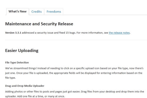 WordPress 3.3.1 Whats New