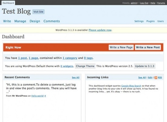 WordPress 2.5 Interface