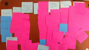 Online course planning with sticky notes