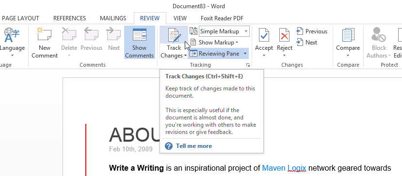 how to change tracks in ms word