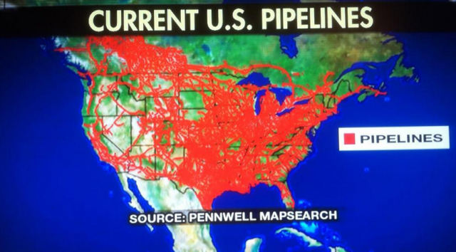 Keystone XL Wrong Kind Of Green - A map with all pipelines in the us