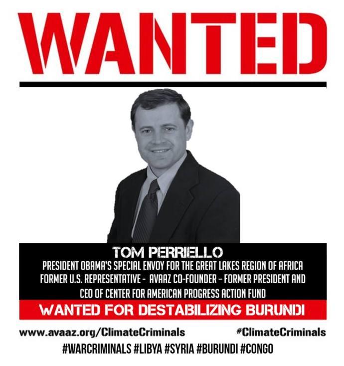WANTED TOM PERRIELLO BURUNDI