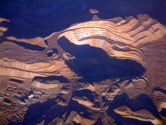 Chuquicamata copper mine, Chile-Aerial view of Chuquicamata copper mine
