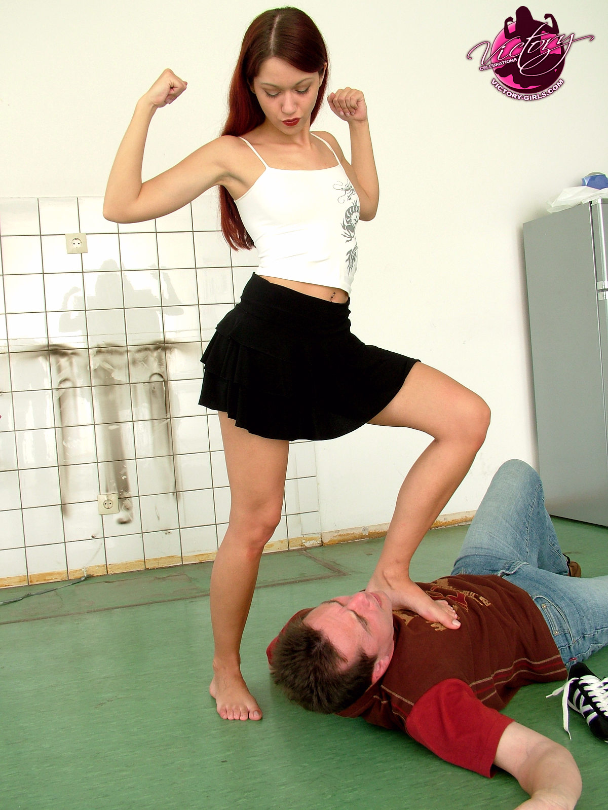 Femdom Mixed Wrestling Victory Pose