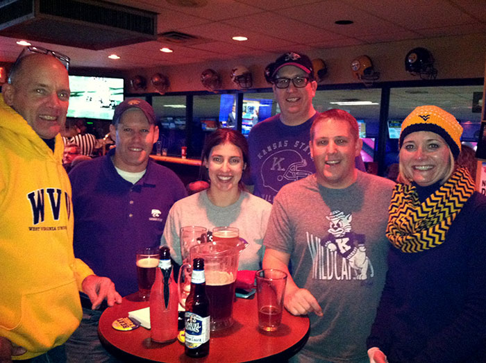 Mingling with K-State fans at Kegler's. (L-R) Dave; Dan Knox from Dallas; Gretchen and Jason Haremza from Cleveland; Craig McGhee from Akron; and me