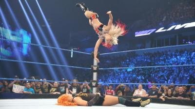 The distraction by Eva allows birthday girl Bliss to hit Twisted Bliss for the victory.