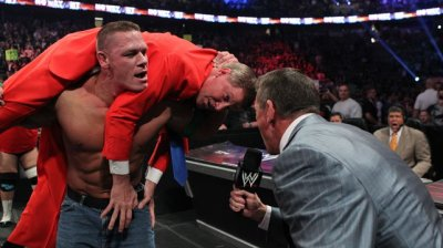 Mr. McMahon got caught up in the action in John Cena's Steel Cage Match against Big Show at WWE's No Way Out 2012.