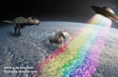 A T-Rex chasing a Unicorn who is trying to escape to the UFO.