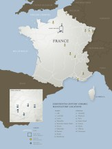 Map of French Ceramic Manufactories