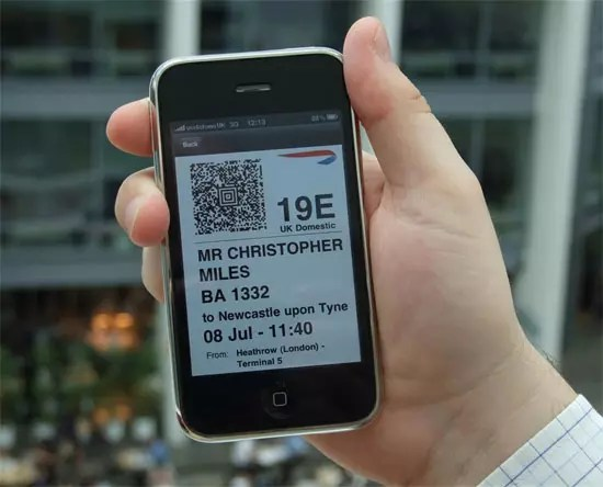 British Airways mobile boarding pass