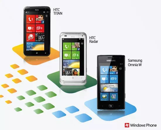 HTC Titan, HTC Radar, Samsung Omnia W