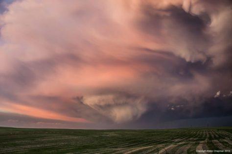 Dying Supercell Thunderstorm at Sunset in Nebraska.