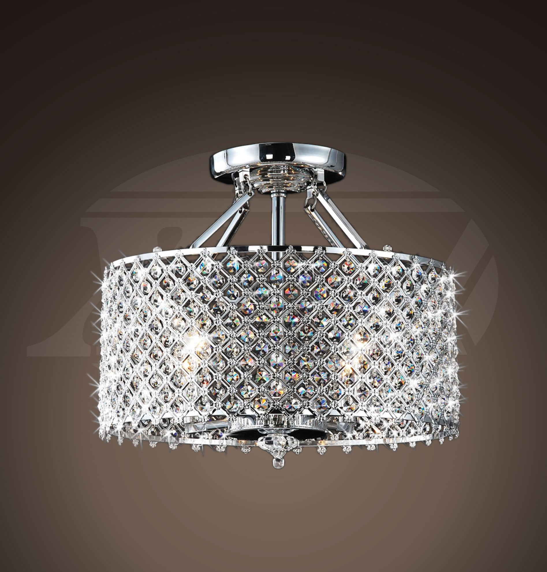Soothing Crystal Round Ceiling Flush Mount Helina Chrome Crystal Round Ceiling Flush Mount Flush Mount Chandelier Pottery Barn Flush Mount Chandelier Light Helina Chrome houzz-03 Flush Mount Chandelier