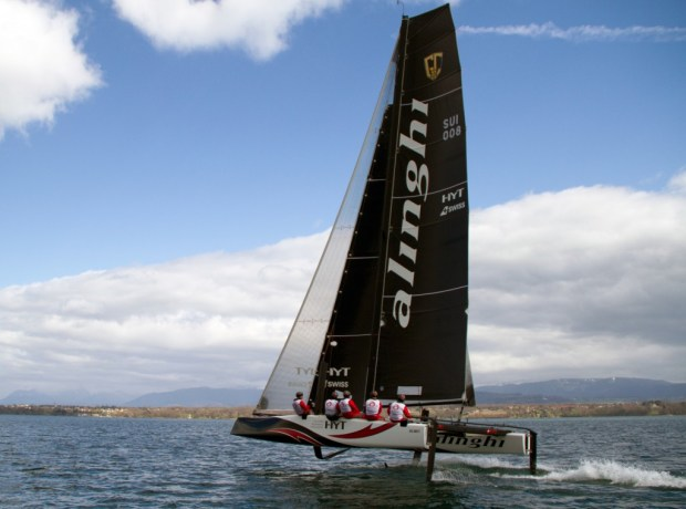 Alinghi undergoes early sea trials. Photo ©: Team Alinghi