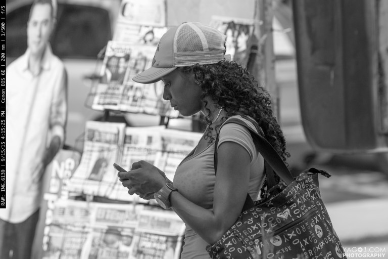 Candid Texting Woman Portrait in Cartagena Colombia