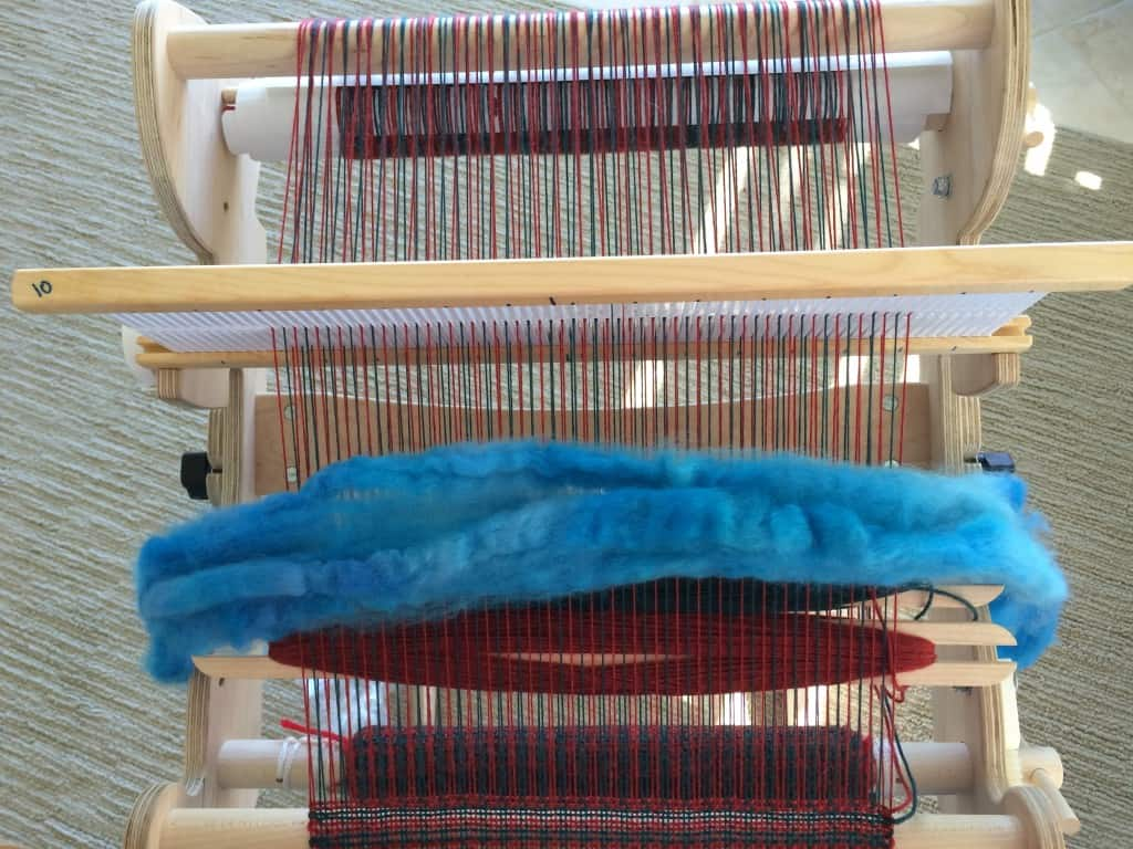 I promise I actually did weave -- the loom wasn't just a handy fiber holder.
