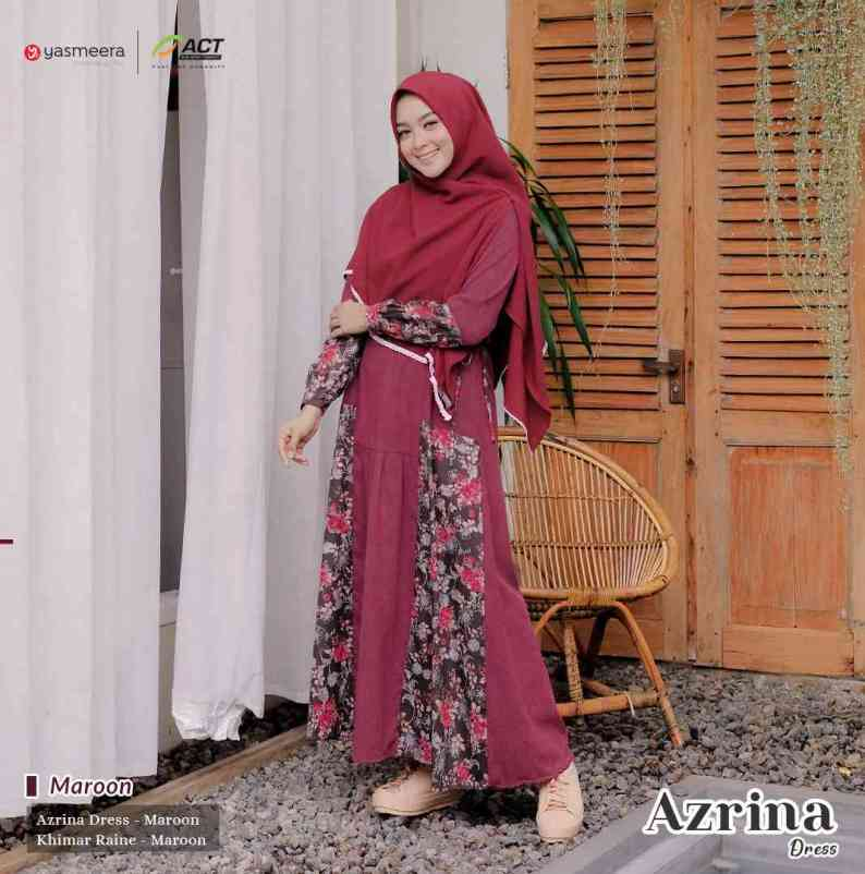 gamis yasmeera azrina dress maroon
