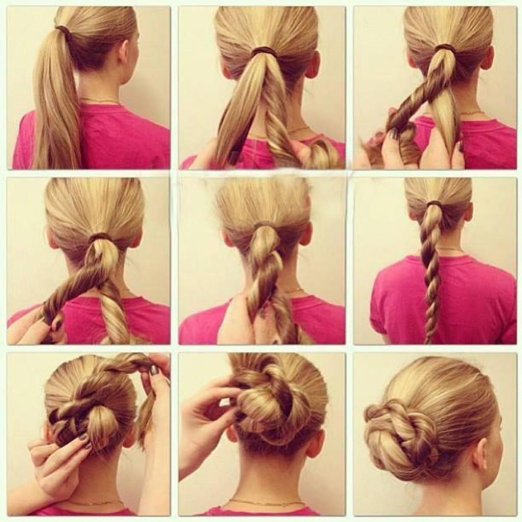 Как сделать самой себе прическу на средние волосы в школу