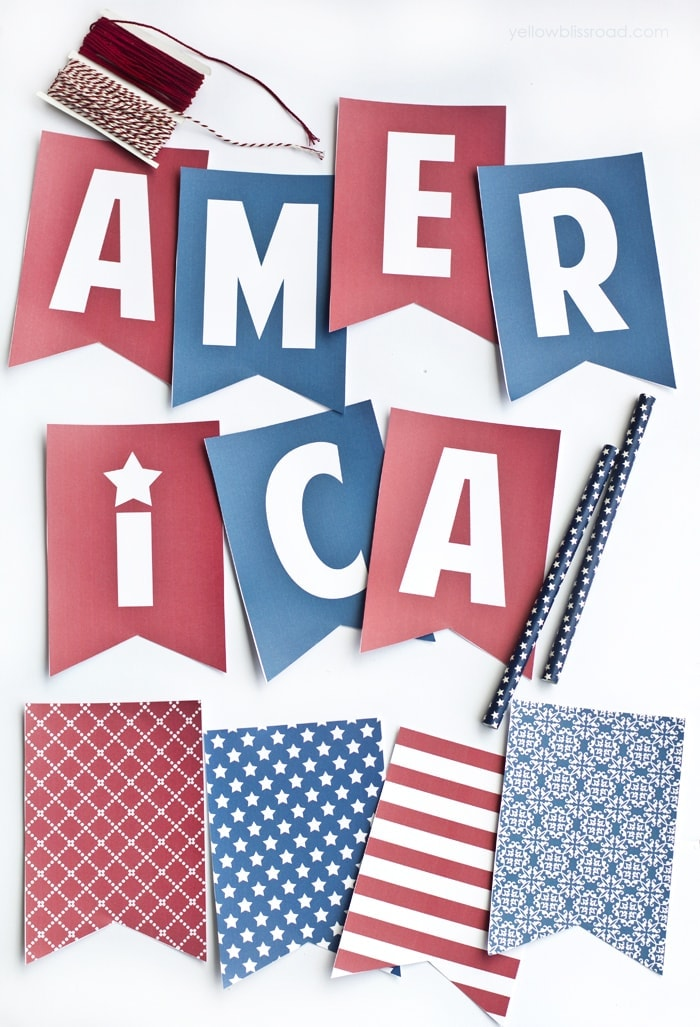 Printable Red and Blue America Banner